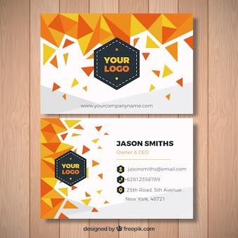 Tarjeta de visita con formas geométricas en tonos naranjas