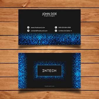 Tarjeta de visita con píxeles azules