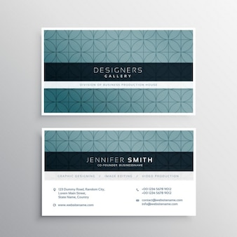 Tarjeta de visita con un patrón azul oscuro