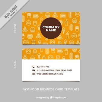 tarjeta de visita de alimentos bocetos