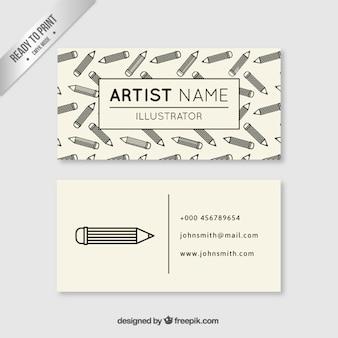 Tarjeta de visita de artista con lápices