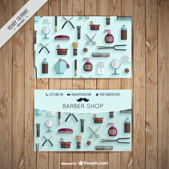 Tarjeta de visita de barbería en diseño plano