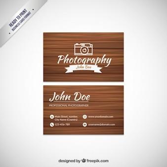 Tarjeta de visita de fotógrafo con textura de madera