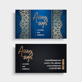 Tarjeta de visita elegante azul con concepto de mandala