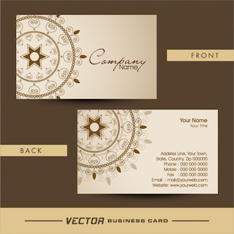Tarjeta de visita elegante con decoración ornamental