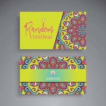 Tarjeta de visita floral dibujada a mano