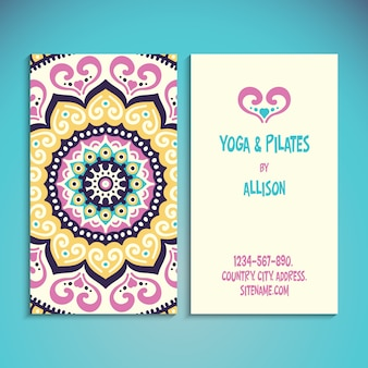 Tarjeta de visita linda para profesor de yoga