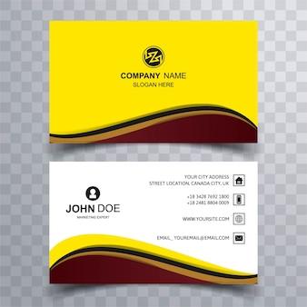 Tarjeta de visita moderna amarilla y marón