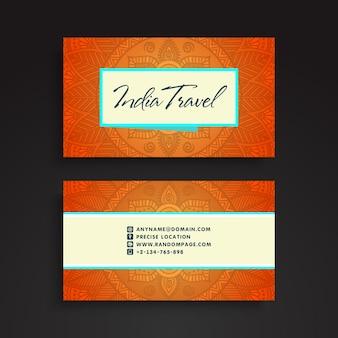 Tarjeta de visita naranja estilo de mandala