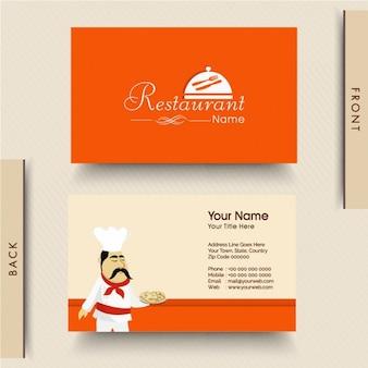 Tarjeta de visita naranja para restaurante italiano