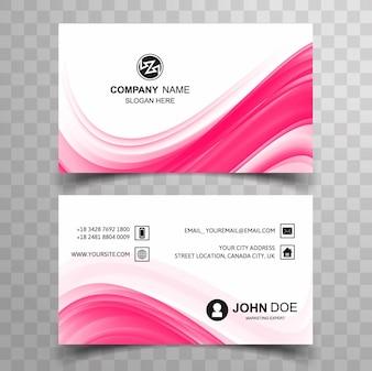 Tarjeta de visita ondulada rosa