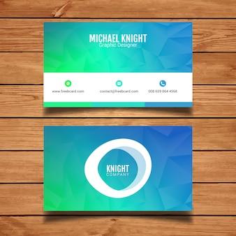 Tarjeta de visita poligonal azul y verde