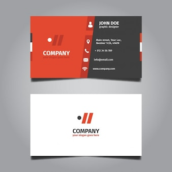 Tarjeta de visita roja  y gris Corporativa