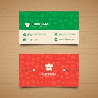 Tarjeta de visita roja y verde para un restaurante