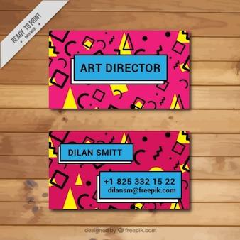 Tarjeta de visita rosa y amarilla estilo memphis