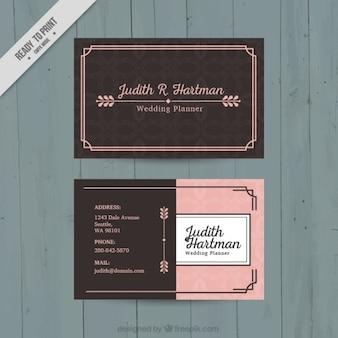 Tarjeta de visita rosa y marrón