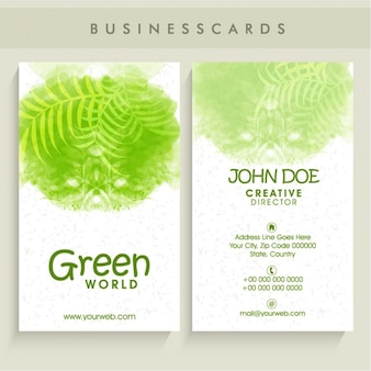 Tarjeta de visita verde con plantas