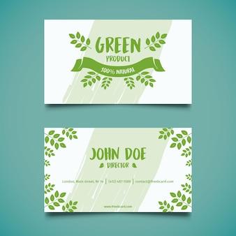 Tarjeta de visita verde natural