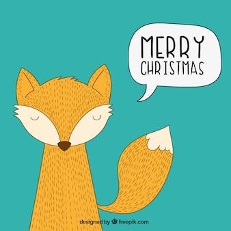 Tarjeta de zorro navideño esbozado
