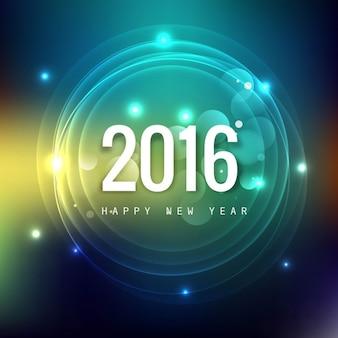 Tarjeta del Año Nuevo 2016 con círculos brillantes