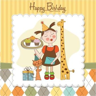 Tarjeta del cumpleaños con chica animales y pastelitos