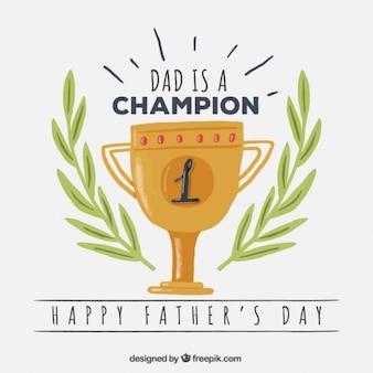 Tarjeta del día del padre de trofeo con decoración de laurel