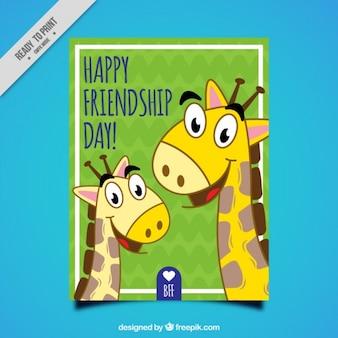 Tarjeta del día de la amistad de simpáticas jirafas dibujadas a mano