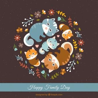 Tarjeta del día de la familia de adorables gatos juntos