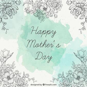 Tarjeta del día de la madre con detalles de flores dibujadas a mano
