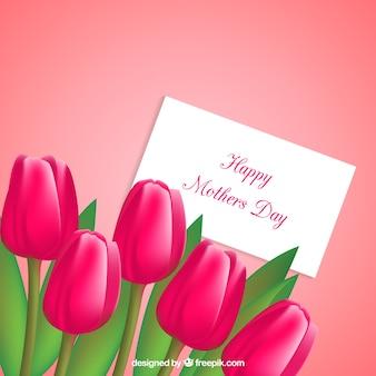 Tarjeta del día de la madre con tulipanes