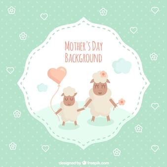Tarjeta del día de la madre de adorables ovejas