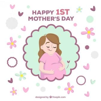 Tarjeta del día de la madre de feliz mujer embarazada