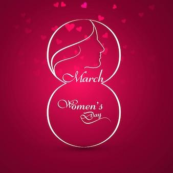 Tarjeta del Día de la mujer brillante con corazones