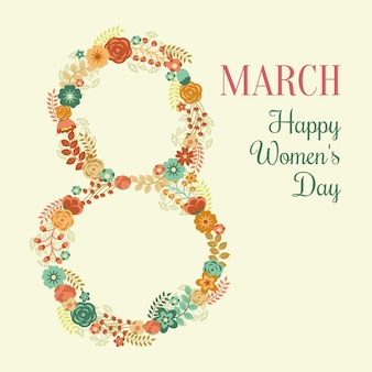Tarjeta del día de la mujer con flores