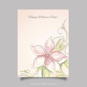 Tarjeta del día de las mujeres de bonita flor de acuarela