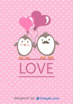 Tarjeta del día de San Valentín de pareja de pingüinos de historieta enamorados