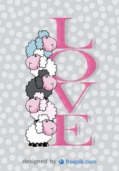 Tarjeta del día de San Valentín linda de ovejas