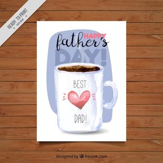 Tarjeta del día del padre bonita con taza de café