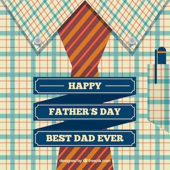 Tarjeta del día del padre con camisa y corbata en diseño plano