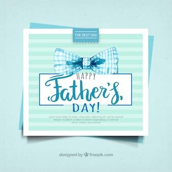 Tarjeta del día del padre con lazo de acuarela