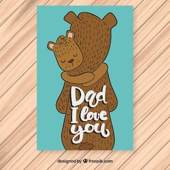 Tarjeta del día del padre con osos abrazándose