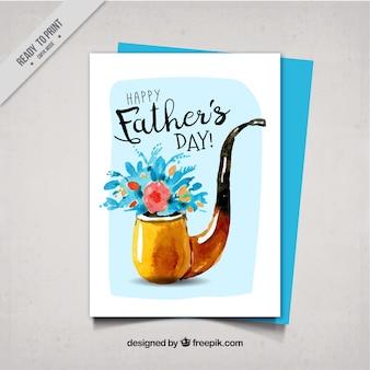 Tarjeta del día del padre de acuarela con pipa y flores