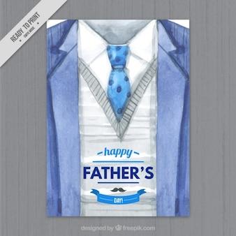 Tarjeta del día del padre de traje de acuarela
