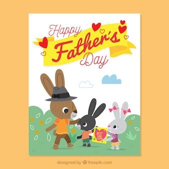 Tarjeta del día del padre decorativa con conejos adorables