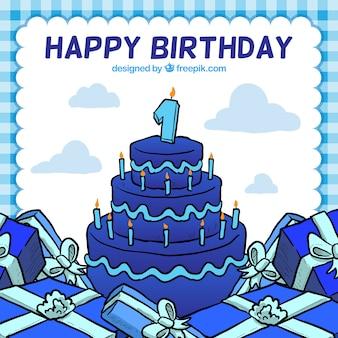 Tarjeta del feliz cumpleaños con un pastel