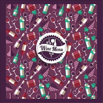 Tarjeta del menú de vino con elementos en diseño plano