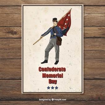 Tarjeta dibujada a mano del día de los héroes confederados