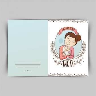 Tarjeta dibujada a mano para el día de la madre