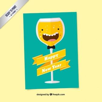 Tarjeta divertida de copa de champán