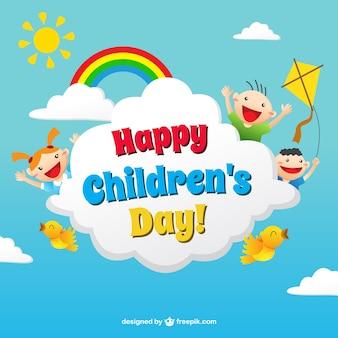 Tarjeta divertida del día de los niños en estilo colorido